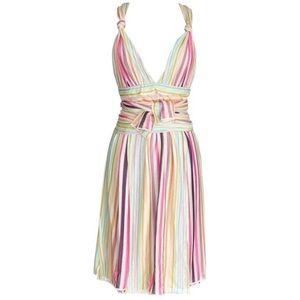Missoni Runway Plunging V Pastel Faux Wrap Dress